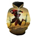 Spider-Man Into the Spider-Verse New Trendy Cool 3D Character Print Khaki Drawstring Hoodie