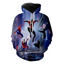 Spider-Man Into the Spider-Verse Cool 3D Figure Printed Sport Casual Blue Drawstring Hoodie