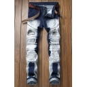 Guys Cool Patched Embroidery Retro Bleach Washed Stretch Fitted Blue and White Biker Jeans