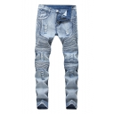 Guys New Stylish Pleated Ruched Detail Light Blue Washed Ripped Skinny Fit Jeans