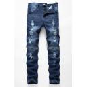 Men's Fashion Blue Knee Zipper Embellished Distressed Stretch Fit Shredded Jeans
