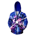 New Stylish Cool 3D Printed Relaxed Fit Zip Up Long Sleeve Blue Hoodie