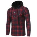 Fashion Plaid Printed Flap Pockets Press-Stud Closure Long Sleeve Flannel Hoodies Work Jacket Shirt Jacket for Men