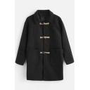 Men's New Stylish Simple Plain Toggle Button Large Pocket Warm Thick Longline Overcoat Duffle Coat