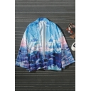 Fashion Unisex Long Sleeve Sky Animal Printed Casual Loose Blue Kimono Coat