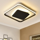 Squared Indoor Lighting Nordic Style Aluminum Ultra Thin Surface Mount LED Light in Black for Living Room
