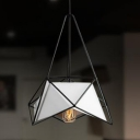 Black/White Metal Cage Hanging Lamp Modern Chic Single Pendant Lighting for Dining Room