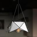 Black/White Metal Cage Hanging Lamp Modern Chic Single Pendant Lighting for Dining Room