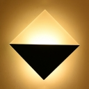 Ultra Thin Squared Wall Light Modernism Glass Shade Remote Control LED Lighting Fixture for Bedroom