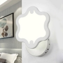 Mini Curved LED Wall Sconce Modern White Acrylic Lampshade Wall Lighting for Baby Kids Room