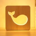 Lovely Cartoon Whale Table Light Children Bedroom Wood Energy Saving LED Table Lamp