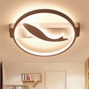 Lovely White Fish Ceiling Lamp with Circular Ring Modernism Acrylic LED Lighting Fixture for Children Room