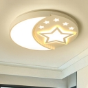 White Round Flush Light with Moon and Star Metallic LED Ceiling Flush Mount for Baby Kids Room