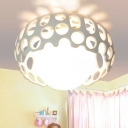 Hollow LED Flush Mount with Inner Glass Shade Art Deco White Ceiling Lamp for Living Room Hallway