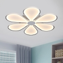 Acrylic Super-thin Flushmount with Flower Design Dining Room Decorative LED Lighting Fixture in White