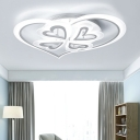 White Sweet Heart Semi Flush Light with Acrylic Shade Modern LED Lighting Fixture for Living Room
