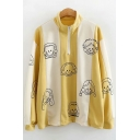 Cute Cartoon Character Printed Half-Zip Stand Collar Long Sleeve Loose Fit Yellow Sweatshirt