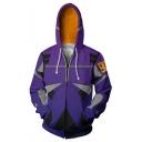 Alita Battle Angel Cosplay Costume 3D Printed Long Sleeve Zip Up Hoodie in Purple