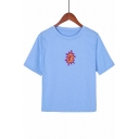 Lovely Sun Embroidered Round Neck Short Sleeve Casual Blue T-Shirt