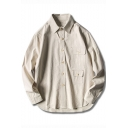 Men Fashion Classic Vertical Pinstriped Print Double Pockets Casual Cotton Shirt