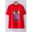 Lovely Rabbit Ear Girl Print Short Sleeve Loose Fit T-Shirt