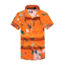Cartoon Palm Tree Guitar Printed Short Sleeve Casual Cotton Unisex Hawaiian Shirt