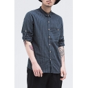 Guys Retro Fashion Long Sleeve Classic Striped Print Casual Linen Shirt