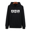 League of Legends Funny Letter EAT SLEEP LEAGUE Guys Long Sleve Fitted Hoodie