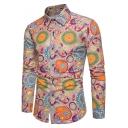 Men's Unique Fashion Pattern Slim Fitted Long Sleeve Button-Up Linen Shirt