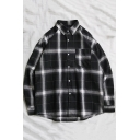 Guys Classic Fashion Plaid Printed Long Sleeve Casual Loose Button-Up Overshirt