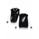 Cute Hobby Horse Printed Rib Collar Long Sleeve Button-Front Baseball Jacket