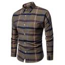 メンズファッションチェック柄プリント長袖ラウンド裾スリムフィットボタンアップシャツ