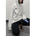 Popular Figure Printed Long Sleeve Oversized White Hoodie