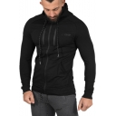 Men's Fashion Logo Print Chest Long Sleeve Bodybuilding Breathable Slim Fitted Black Zip Hoodie