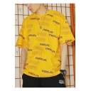 Guys Hip Hop Style Allover Letter Printed Summer Loose Oversized T-Shirt