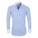 Mens Contrast Collar Spread Collar Trendy Vertical Pinstripe Print French Cuff Fitted Button-Up Cotton Shirt