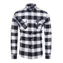 Cool Double Flap Pocket Front Classic Plaid Printed Long Sleeve Cotton Button-Up Shirt for Men