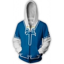 The Legend of Zelda 3D Printed Cosplay Costume Long Sleeve Blue Zip Up Hoodie