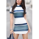 Summer Trendy Striped Print Mock Neck Short Sleeve Round Hem Mini Bodycon Dress