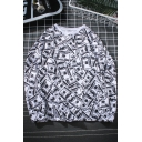 Cool Allover Greenback Printed Round Neck Long Sleeve Pullover White Sweatshirt