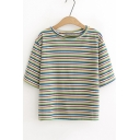 Summer Simple Stripe Printed Round Neck Short Sleeve Loose Fit T-Shirt