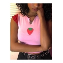 Summer Cute Strawberry Print Contrast Trim Cropped Slim Pink T-Shirt for Girls