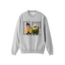 Cartoon Printed Round Neck Long Sleeve Cotton Pullover Sweatshirt