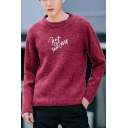 New Leisure Letter Embroidered Round Neck Long Sleeve Pullover Sweater