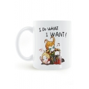 Comic Letter I DO WHAT I WANT White Porcelain Mug Cup