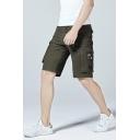 Men's Cotton Fashion Zip-Pocket Side Mid-Waist Trendy Plain Cargo Shorts
