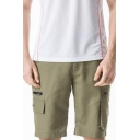 Summer Fashion Solid Color Elastic-Waist Quick-Dry Zip Pocket Casual Cargo Shorts for Men