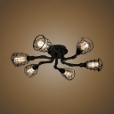 Wire Cage Flush Light Fixture Rustic Style 6 Lights Metal Semi Flush Light in Matte Black
