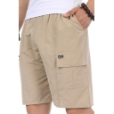 Summer New Trendy Simple Plain Elastic Waist Casual Loose Cargo Shorts