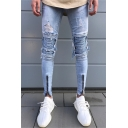 Mens Street Fashion Zip Cuff Pleated Knee Patched Light Blue Ripped Skinny Jeans
